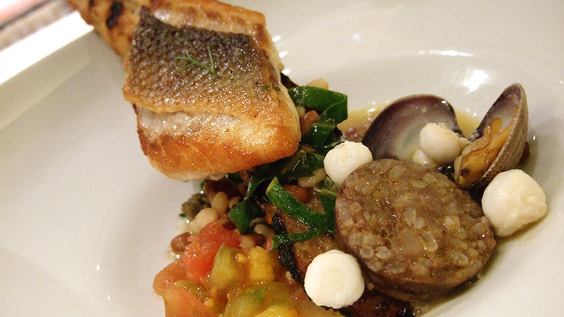Spanish Sea Bass Stew with Tepary Beans