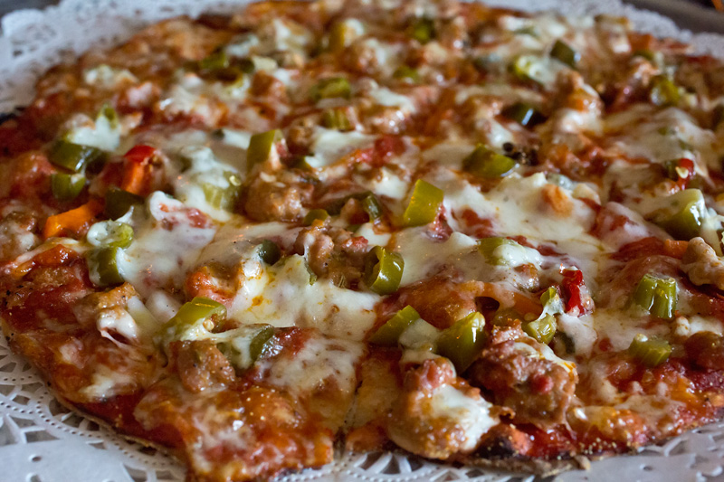 Sausage and Hot Giardiniera Pizza